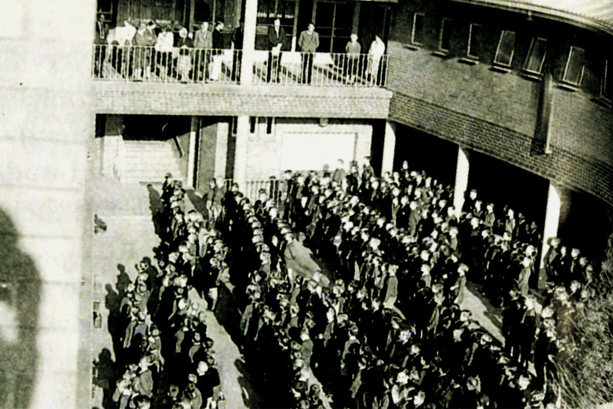 The first assembly in the quad of the newly built school buildings on Bulwer Street – 1965