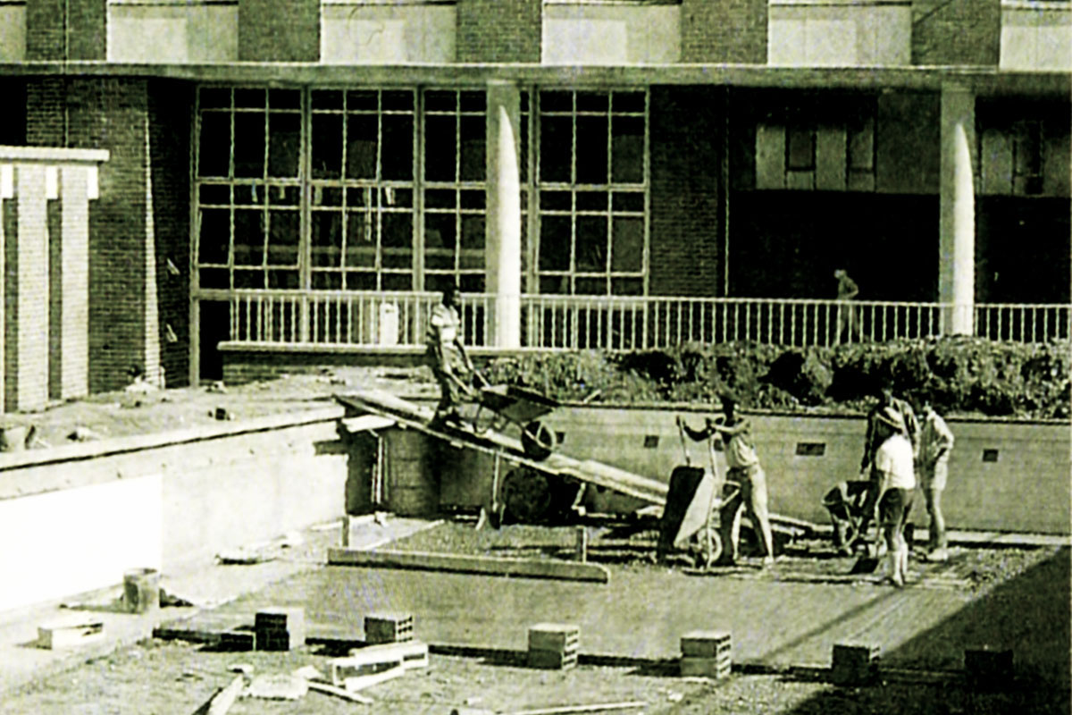 The building of the swimming pool at Merchiston's new premises