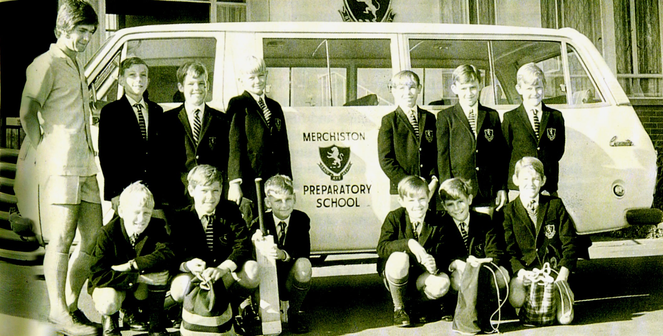 Cricketers about to head off in the school bus